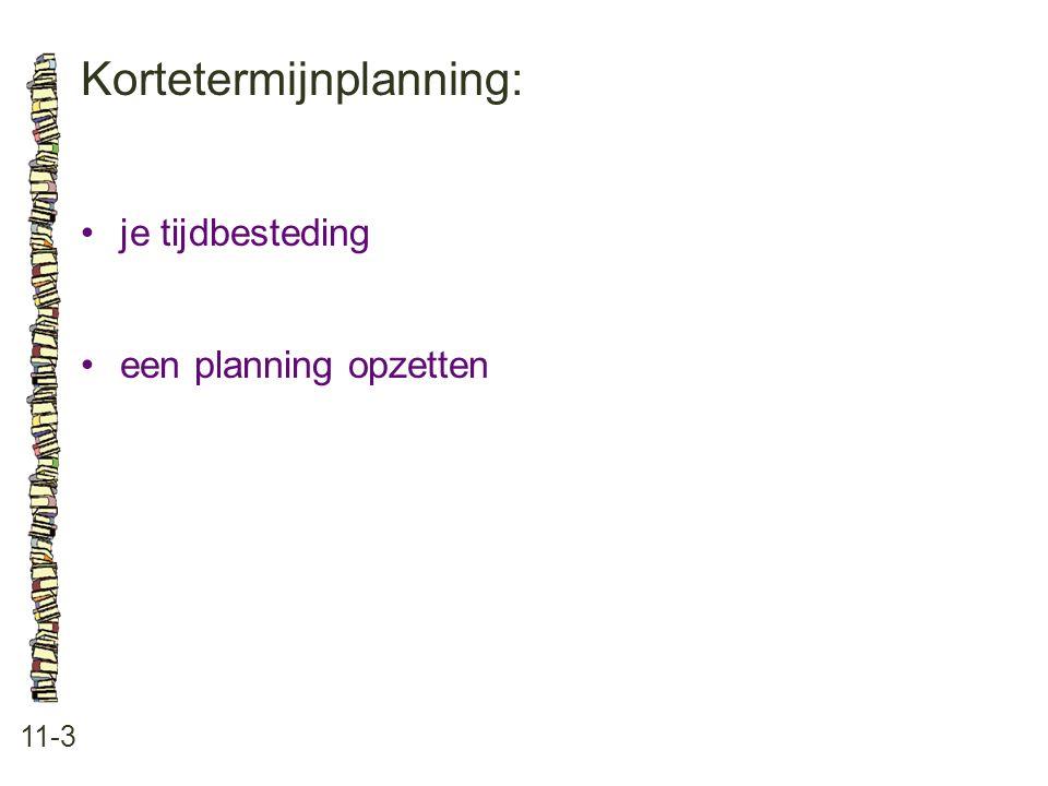 Kortetermijnplanning: 11-3 je tijdbesteding een planning opzetten