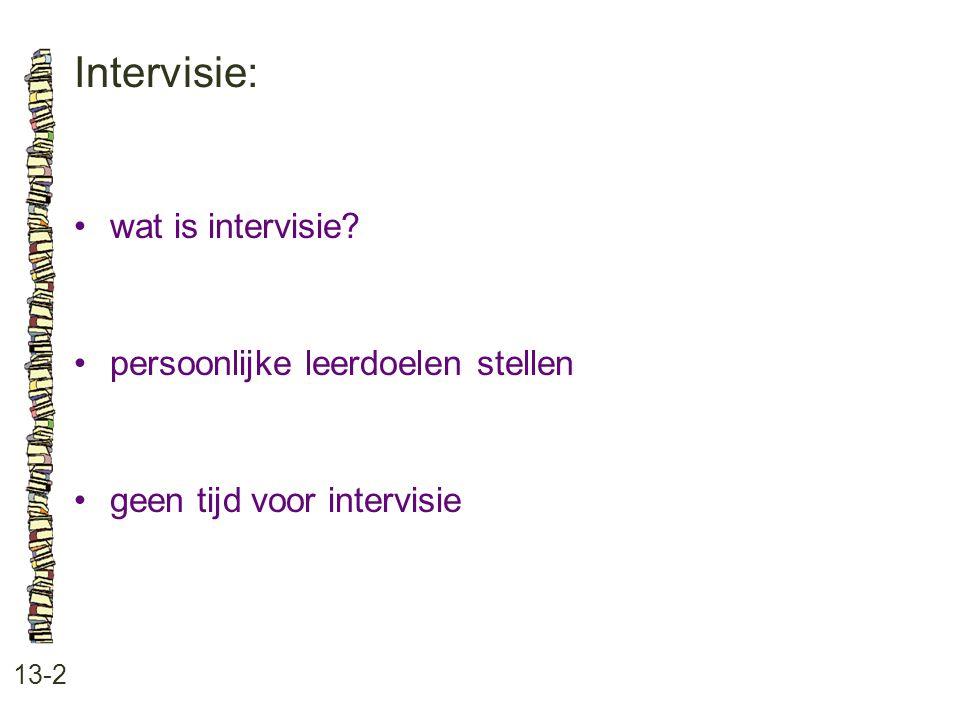 Intervisie: 13-2 wat is intervisie? persoonlijke leerdoelen stellen geen tijd voor intervisie