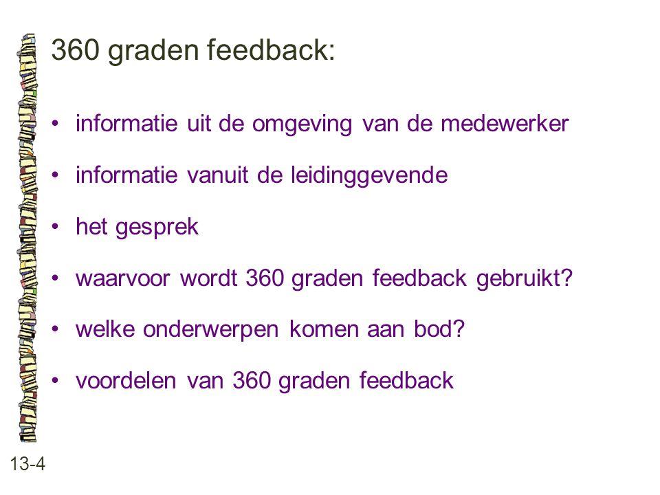 360 graden feedback: 13-4 informatie uit de omgeving van de medewerker informatie vanuit de leidinggevende het gesprek waarvoor wordt 360 graden feedb
