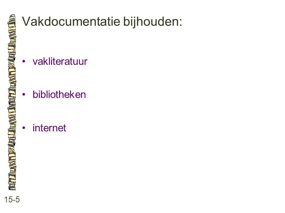 Vakdocumentatie bijhouden: 15-5 vakliteratuur bibliotheken internet