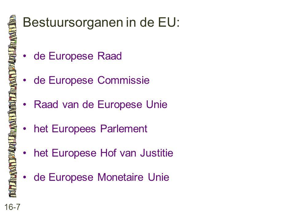 Bestuursorganen in de EU: 16-7 de Europese Raad de Europese Commissie Raad van de Europese Unie het Europees Parlement het Europese Hof van Justitie d
