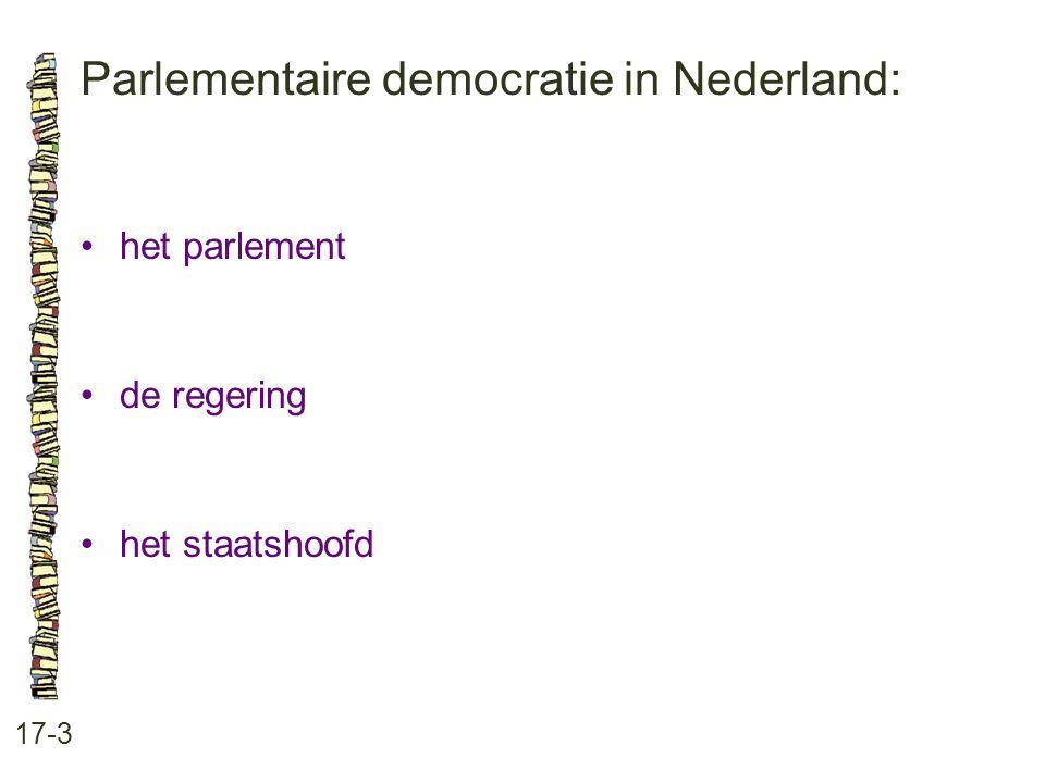 Parlementaire democratie in Nederland: 17-3 het parlement de regering het staatshoofd