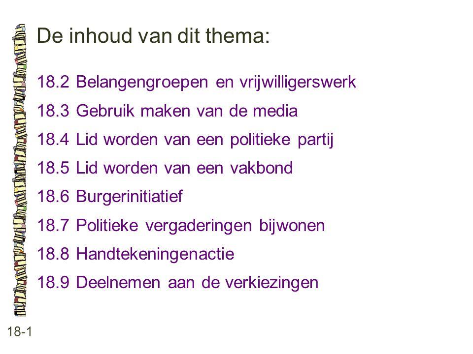 De inhoud van dit thema: 18-1 18.2 Belangengroepen en vrijwilligerswerk 18.3 Gebruik maken van de media 18.4 Lid worden van een politieke partij 18.5