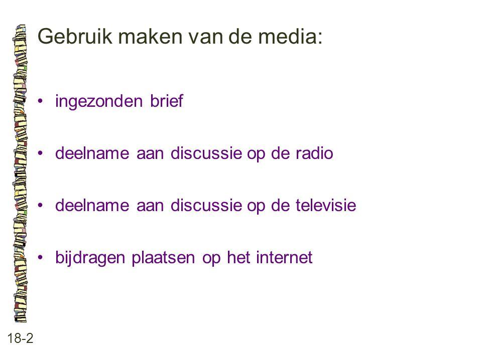 Gebruik maken van de media: 18-2 ingezonden brief deelname aan discussie op de radio deelname aan discussie op de televisie bijdragen plaatsen op het