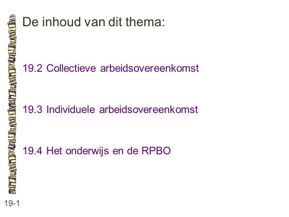 De inhoud van dit thema: 19-1 19.2Collectieve arbeidsovereenkomst 19.3Individuele arbeidsovereenkomst 19.4Het onderwijs en de RPBO