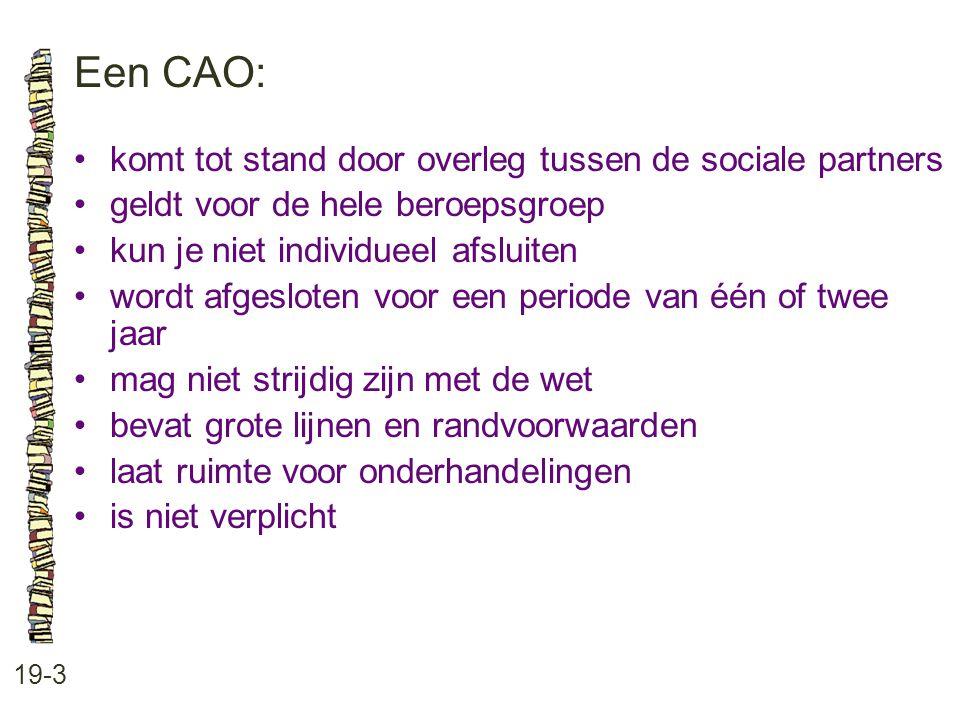Een CAO: 19-3 komt tot stand door overleg tussen de sociale partners geldt voor de hele beroepsgroep kun je niet individueel afsluiten wordt afgeslote