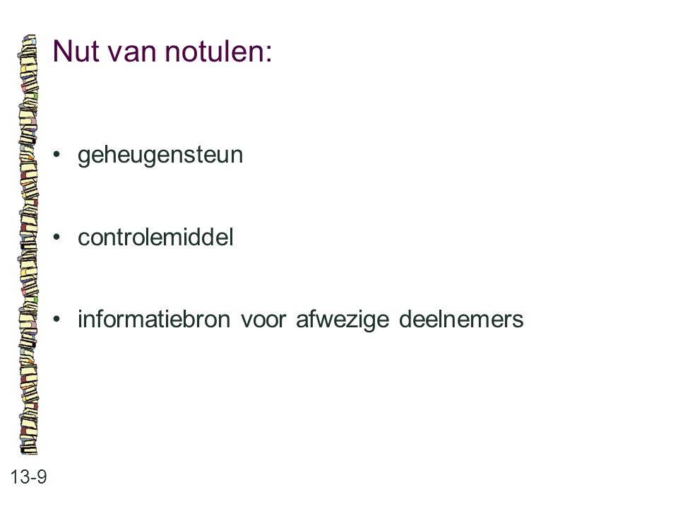 Nut van notulen: 13-9 geheugensteun controlemiddel informatiebron voor afwezige deelnemers