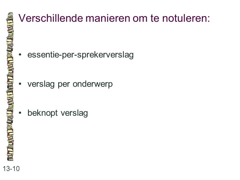 Verschillende manieren om te notuleren: 13-10 essentie-per-sprekerverslag verslag per onderwerp beknopt verslag