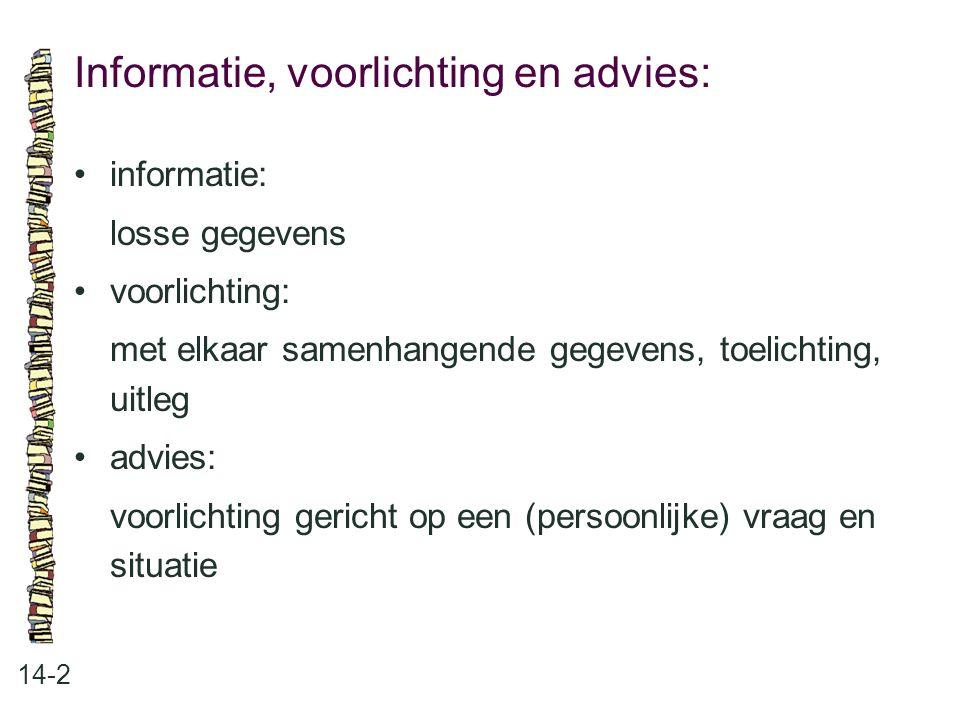 Informatie, voorlichting en advies: 14-2 informatie: losse gegevens voorlichting: met elkaar samenhangende gegevens, toelichting, uitleg advies: voorl
