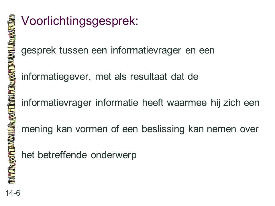 Voorlichtingsgesprek: 14-6 gesprek tussen een informatievrager en een informatiegever, met als resultaat dat de informatievrager informatie heeft waar