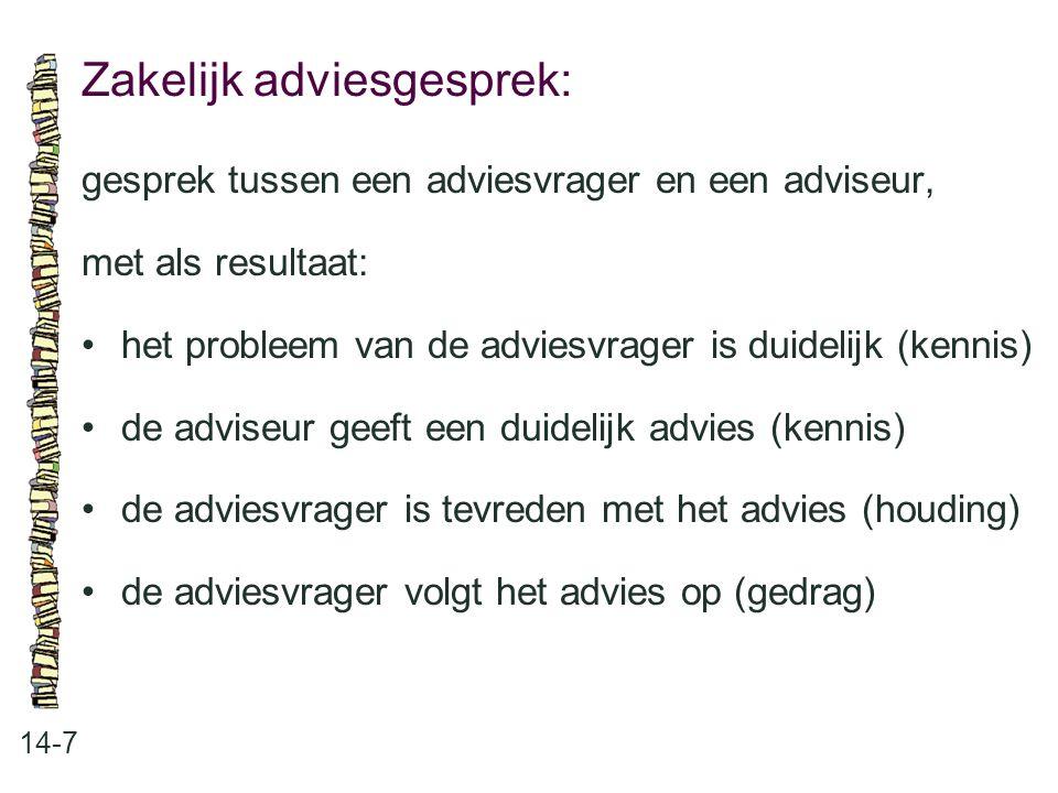 Zakelijk adviesgesprek: 14-7 gesprek tussen een adviesvrager en een adviseur, met als resultaat: het probleem van de adviesvrager is duidelijk (kennis