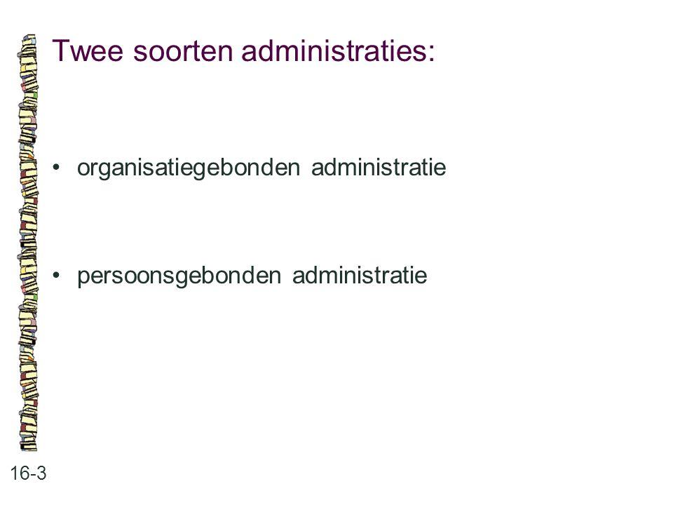 Twee soorten administraties: 16-3 organisatiegebonden administratie persoonsgebonden administratie