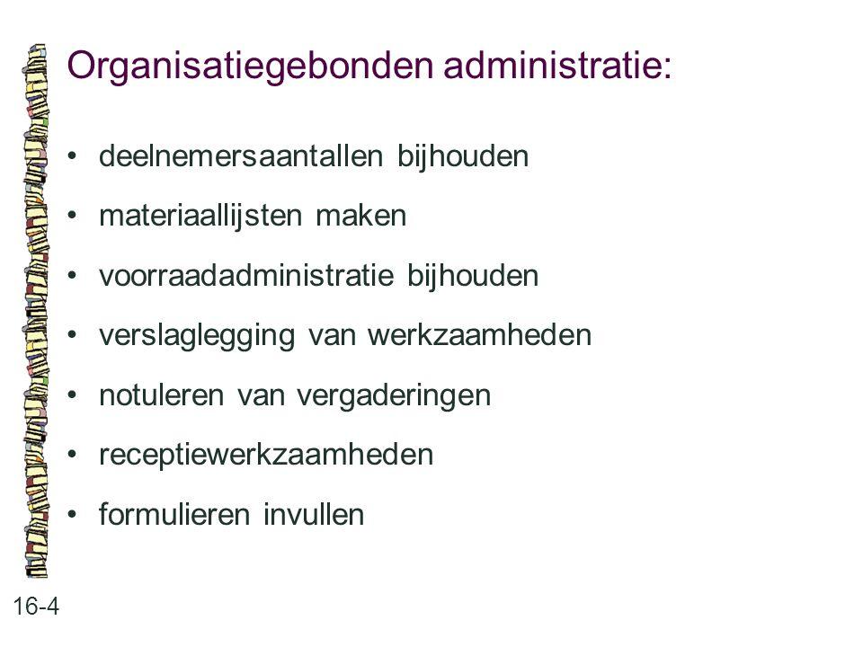 Organisatiegebonden administratie: 16-4 deelnemersaantallen bijhouden materiaallijsten maken voorraadadministratie bijhouden verslaglegging van werkza