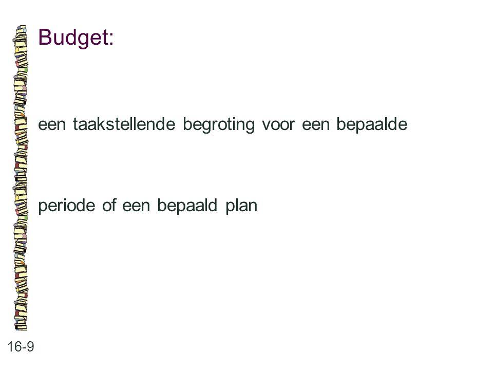 Budget: 16-9 een taakstellende begroting voor een bepaalde periode of een bepaald plan