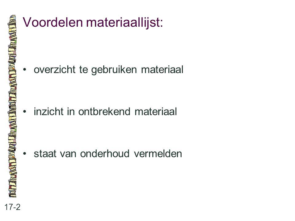 Voordelen materiaallijst: 17-2 overzicht te gebruiken materiaal inzicht in ontbrekend materiaal staat van onderhoud vermelden