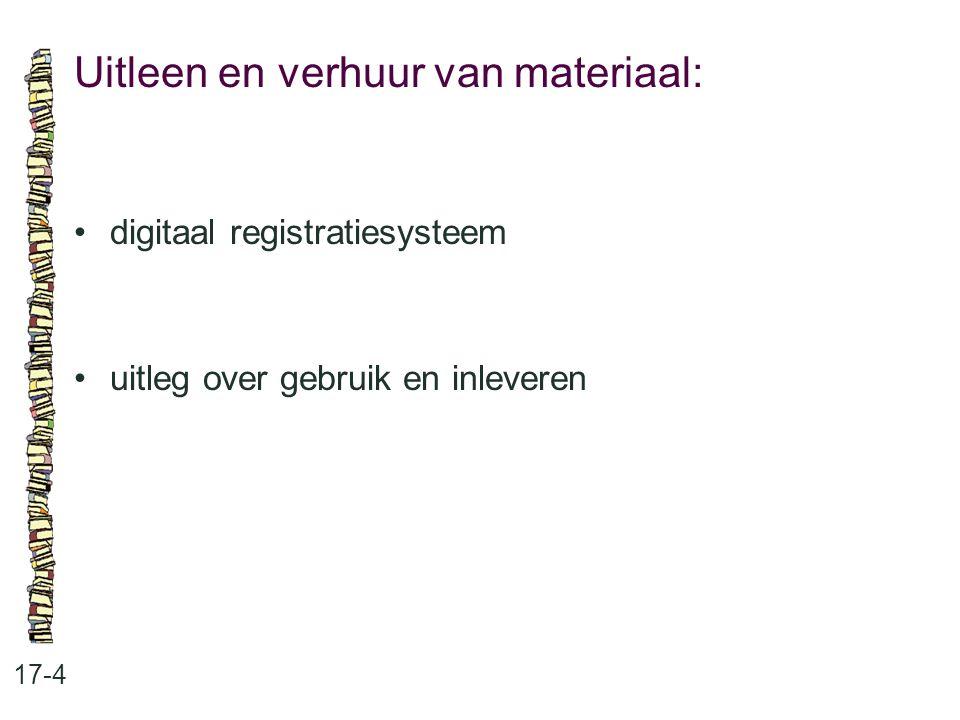 Uitleen en verhuur van materiaal: 17-4 digitaal registratiesysteem uitleg over gebruik en inleveren