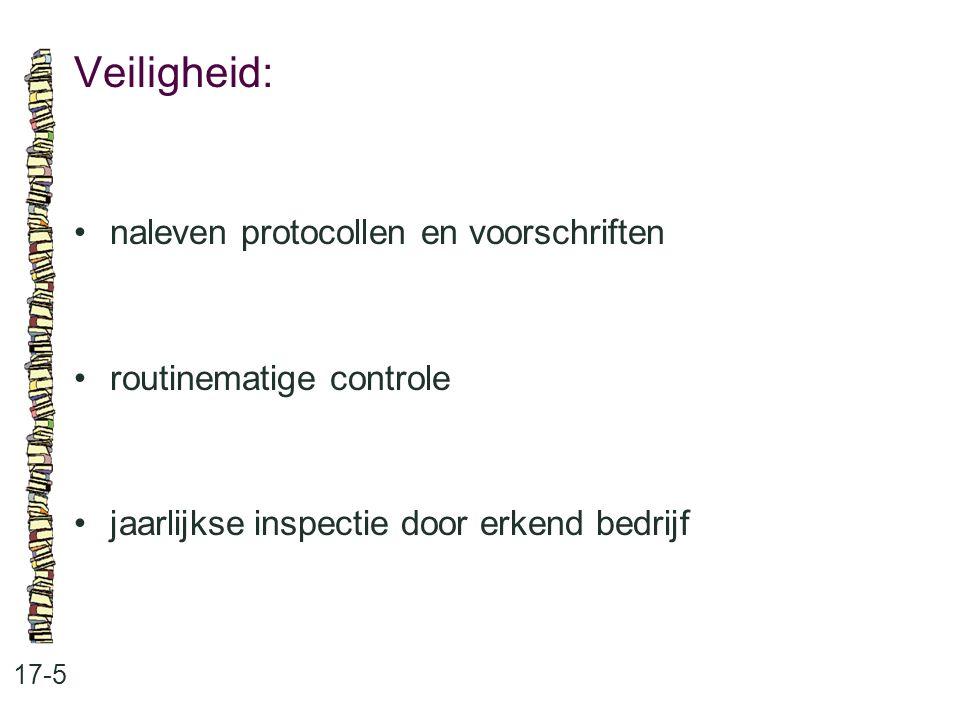 Veiligheid: 17-5 naleven protocollen en voorschriften routinematige controle jaarlijkse inspectie door erkend bedrijf