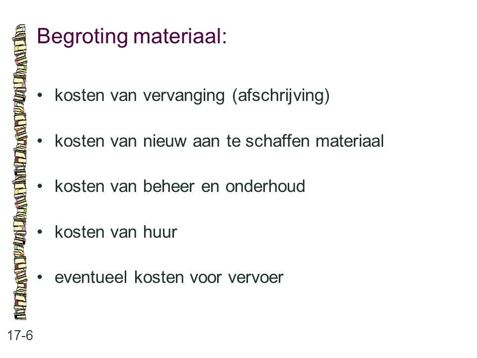Begroting materiaal: 17-6 kosten van vervanging (afschrijving) kosten van nieuw aan te schaffen materiaal kosten van beheer en onderhoud kosten van hu