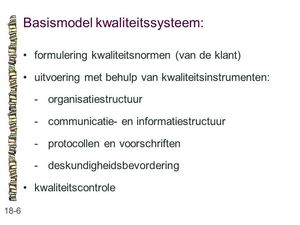 Basismodel kwaliteitssysteem: 18-6 formulering kwaliteitsnormen (van de klant) uitvoering met behulp van kwaliteitsinstrumenten: -organisatiestructuur