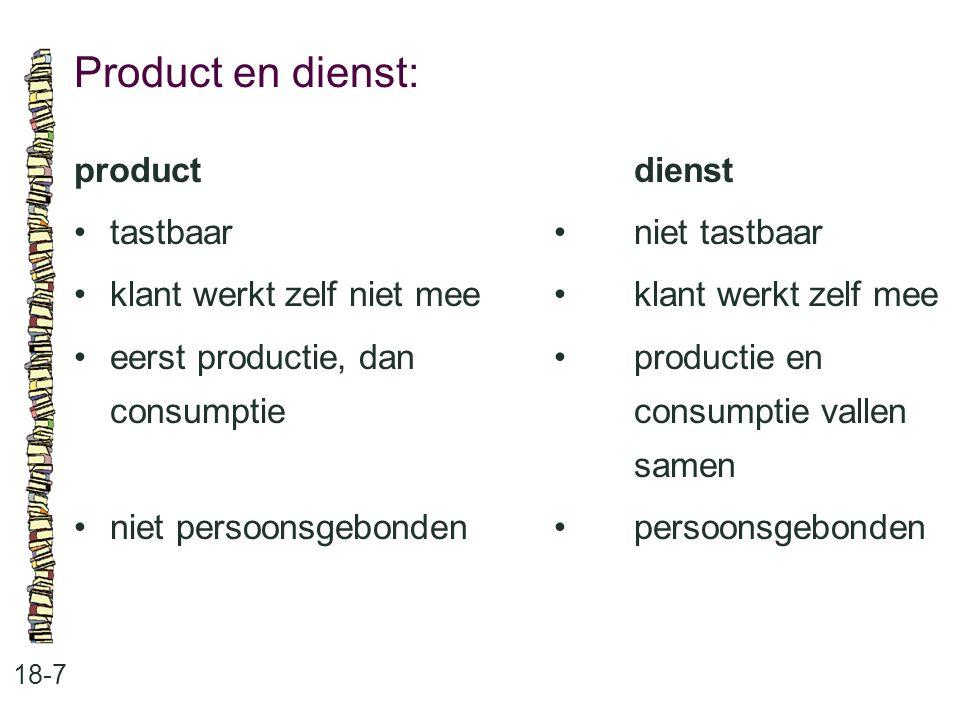 Product en dienst: 18-7 productdienst tastbaar niet tastbaar klant werkt zelf niet meeklant werkt zelf mee eerst productie, dan productie en consumpti