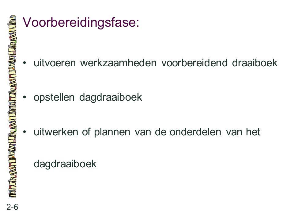 Voorbereidingsfase: 2-6 uitvoeren werkzaamheden voorbereidend draaiboek opstellen dagdraaiboek uitwerken of plannen van de onderdelen van het dagdraai