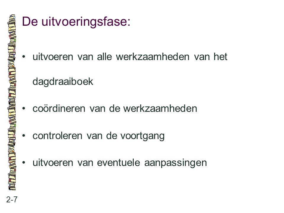 De uitvoeringsfase: 2-7 uitvoeren van alle werkzaamheden van het dagdraaiboek coördineren van de werkzaamheden controleren van de voortgang uitvoeren
