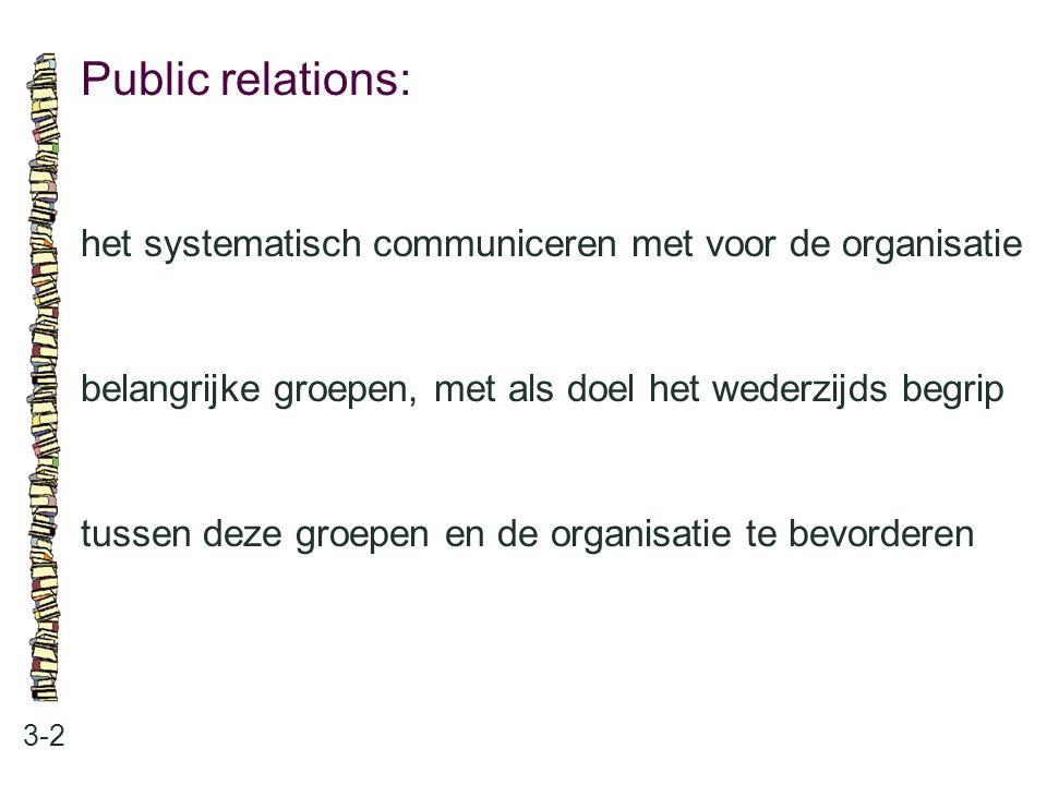 Public relations: 3-2 het systematisch communiceren met voor de organisatie belangrijke groepen, met als doel het wederzijds begrip tussen deze groepe