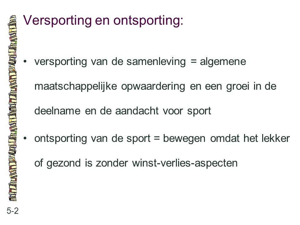 Versporting en ontsporting: 5-2 versporting van de samenleving = algemene maatschappelijke opwaardering en een groei in de deelname en de aandacht voo