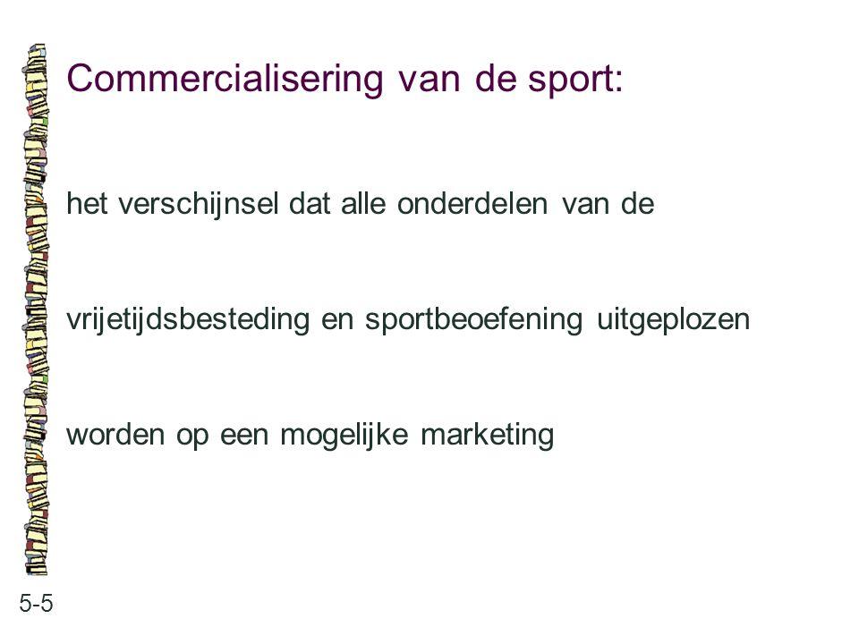 Commercialisering van de sport: 5-5 het verschijnsel dat alle onderdelen van de vrijetijdsbesteding en sportbeoefening uitgeplozen worden op een mogel