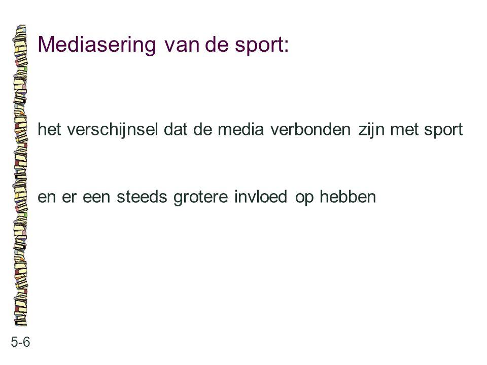 Mediasering van de sport: 5-6 het verschijnsel dat de media verbonden zijn met sport en er een steeds grotere invloed op hebben