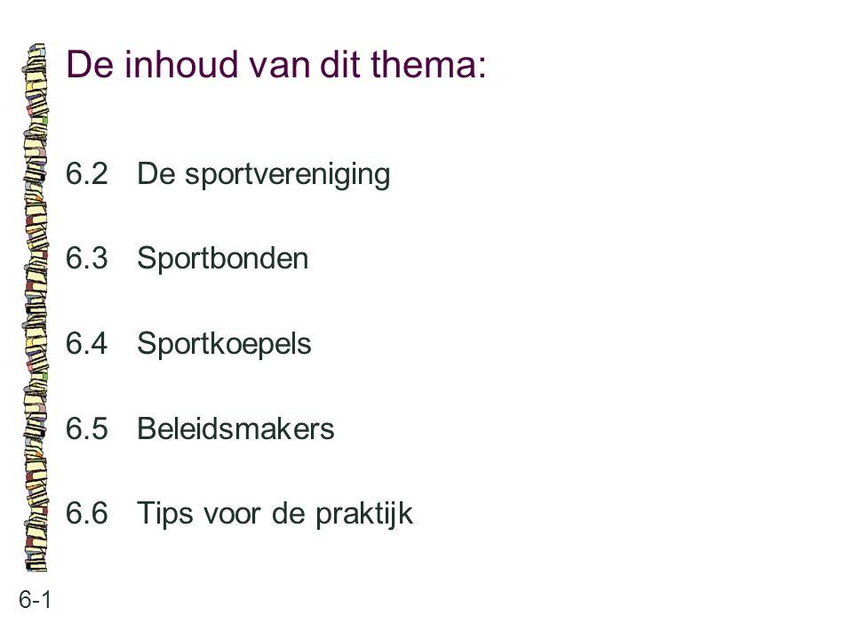 De inhoud van dit thema: 6-1 6.2 De sportvereniging 6.3 Sportbonden 6.4 Sportkoepels 6.5 Beleidsmakers 6.6 Tips voor de praktijk