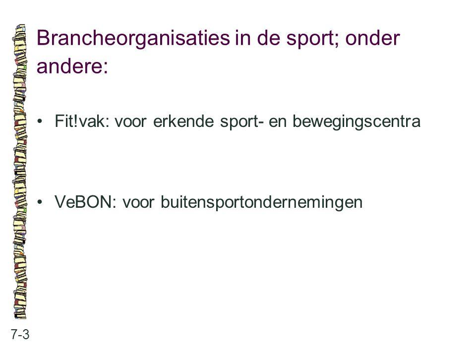 Brancheorganisaties in de sport; onder andere: 7-3 Fit!vak: voor erkende sport- en bewegingscentra VeBON: voor buitensportondernemingen