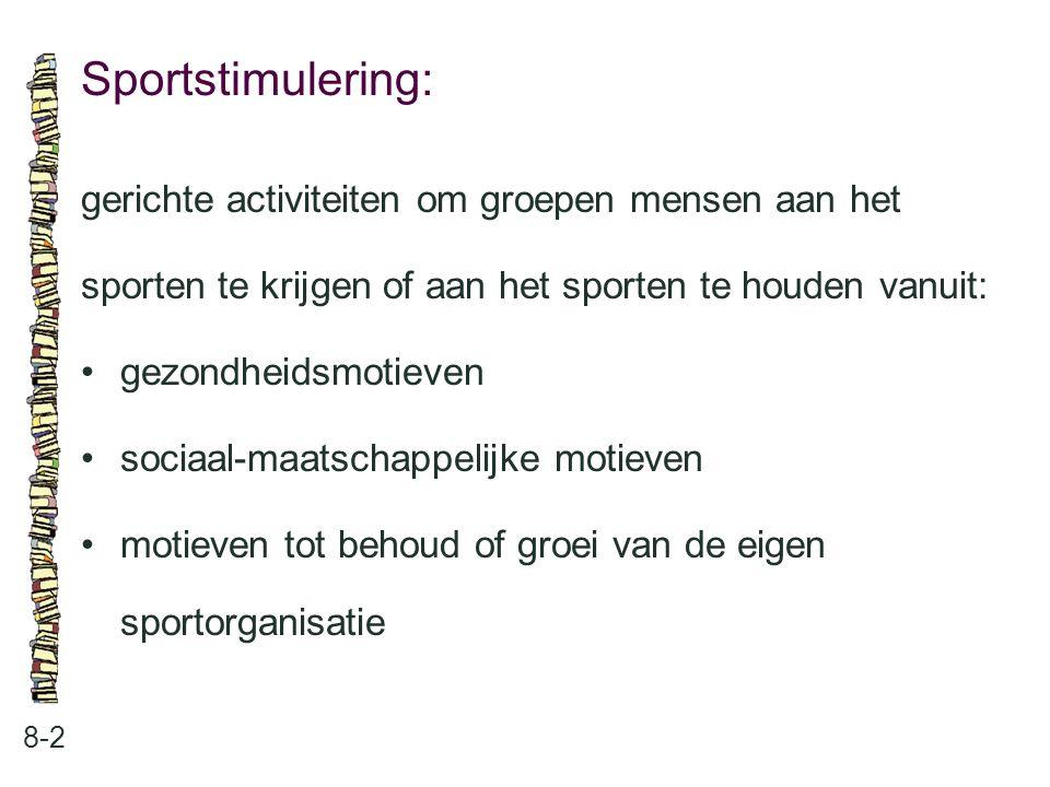 Sportstimulering: 8-2 gerichte activiteiten om groepen mensen aan het sporten te krijgen of aan het sporten te houden vanuit: gezondheidsmotieven soci