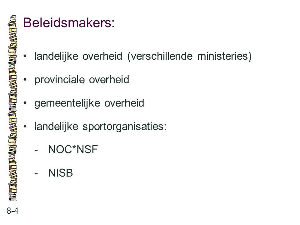Beleidsmakers: 8-4 landelijke overheid (verschillende ministeries) provinciale overheid gemeentelijke overheid landelijke sportorganisaties: -NOC*NSF