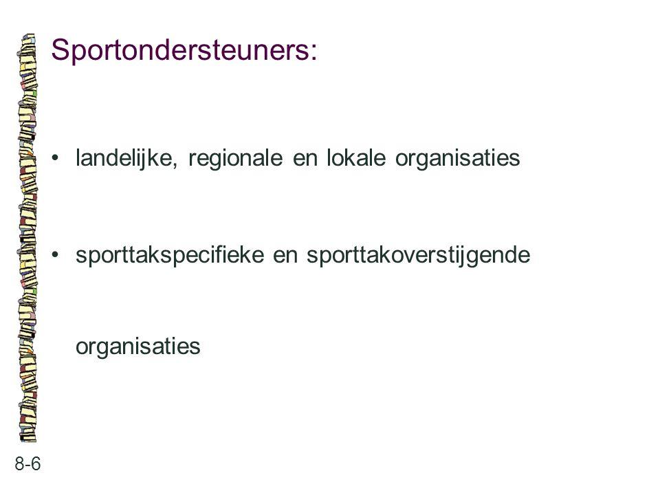 Sportondersteuners: 8-6 landelijke, regionale en lokale organisaties sporttakspecifieke en sporttakoverstijgende organisaties