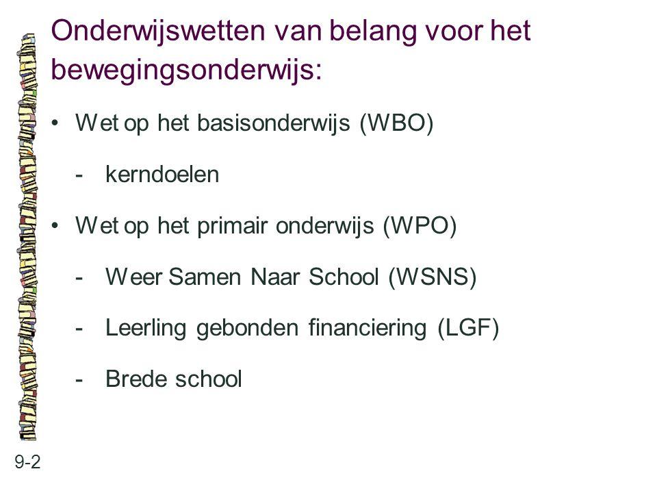 Onderwijswetten van belang voor het bewegingsonderwijs: 9-2 Wet op het basisonderwijs (WBO) -kerndoelen Wet op het primair onderwijs (WPO) -Weer Samen
