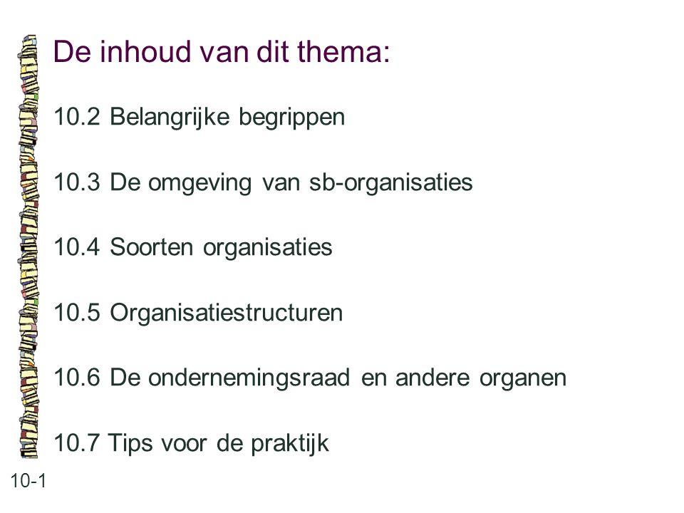 De inhoud van dit thema: 10-1 10.2Belangrijke begrippen 10.3 De omgeving van sb-organisaties 10.4 Soorten organisaties 10.5 Organisatiestructuren 10.6