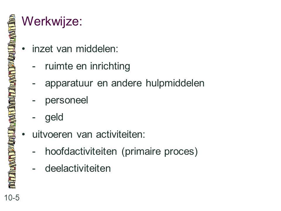 Werkwijze: 10-5 inzet van middelen: -ruimte en inrichting -apparatuur en andere hulpmiddelen -personeel -geld uitvoeren van activiteiten: -hoofdactivi