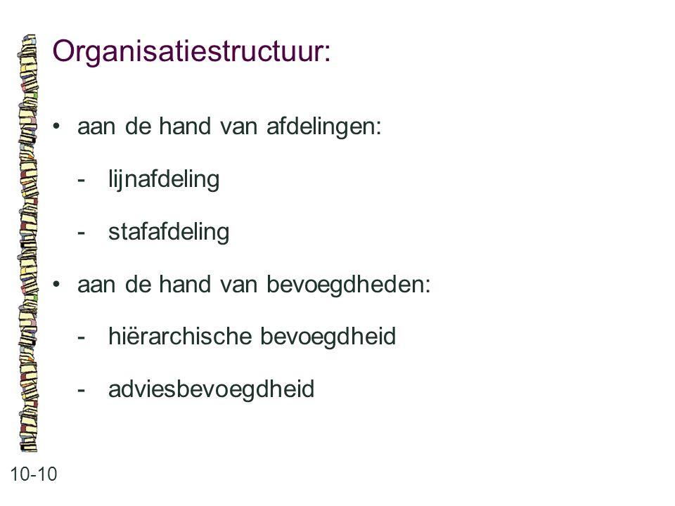 Organisatiestructuur: 10-10 aan de hand van afdelingen: -lijnafdeling -stafafdeling aan de hand van bevoegdheden: -hiërarchische bevoegdheid -adviesbe