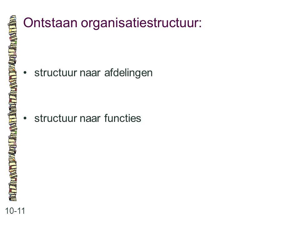 Ontstaan organisatiestructuur: 10-11 structuur naar afdelingen structuur naar functies