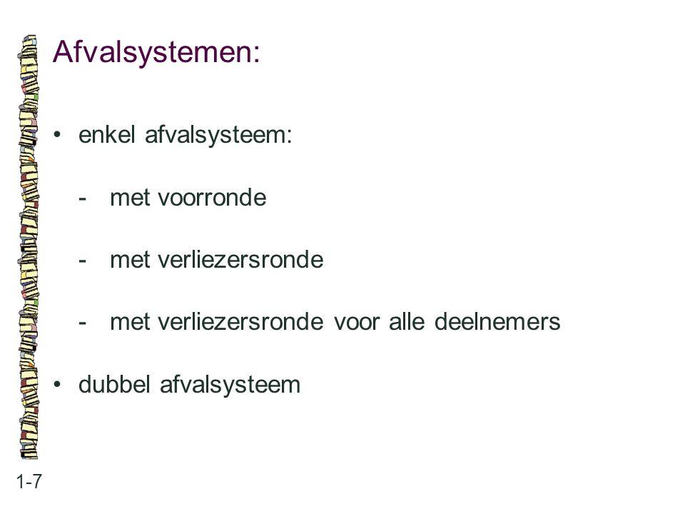 Afvalsystemen: 1-7 enkel afvalsysteem: -met voorronde -met verliezersronde -met verliezersronde voor alle deelnemers dubbel afvalsysteem