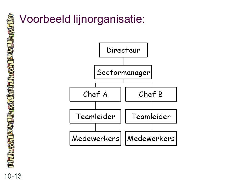 Voorbeeld lijnorganisatie: 10-13