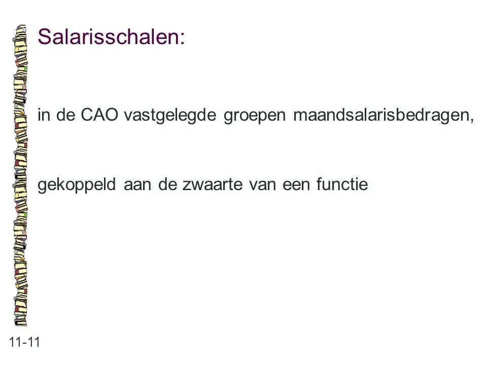 Salarisschalen: 11-11 in de CAO vastgelegde groepen maandsalarisbedragen, gekoppeld aan de zwaarte van een functie