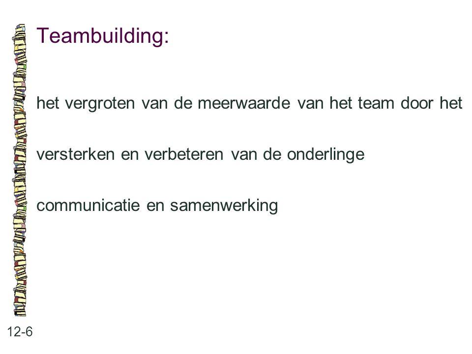 Teambuilding: 12-6 het vergroten van de meerwaarde van het team door het versterken en verbeteren van de onderlinge communicatie en samenwerking