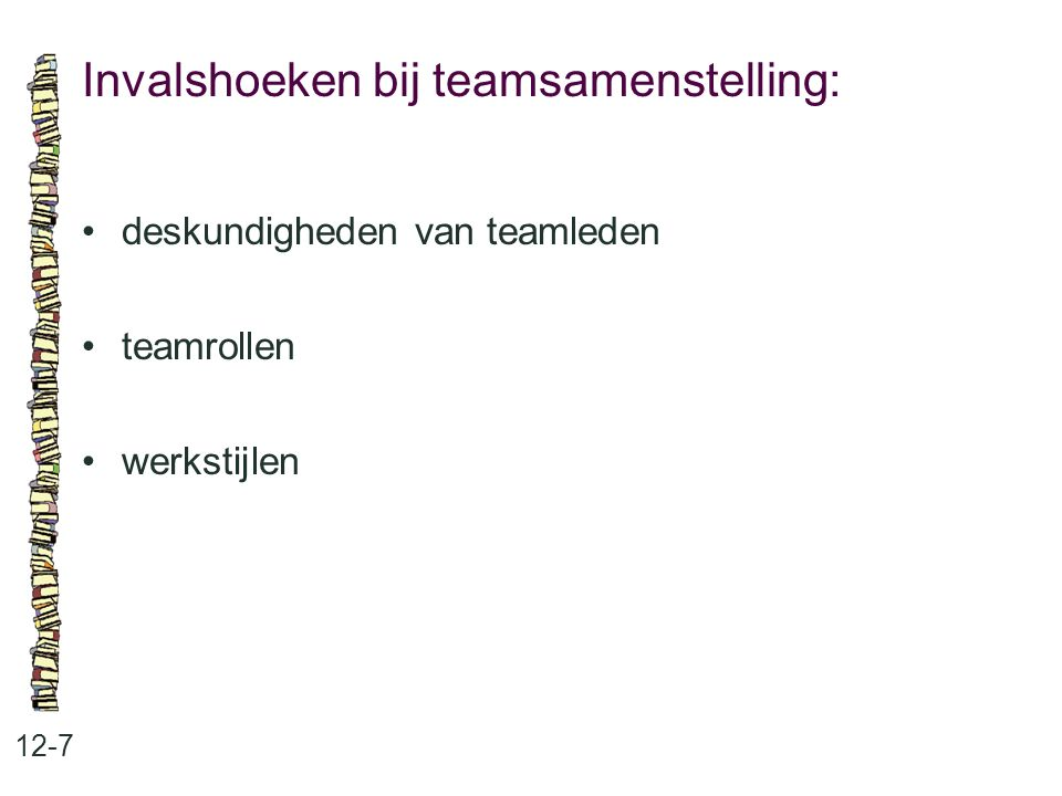 Invalshoeken bij teamsamenstelling: 12-7 deskundigheden van teamleden teamrollen werkstijlen