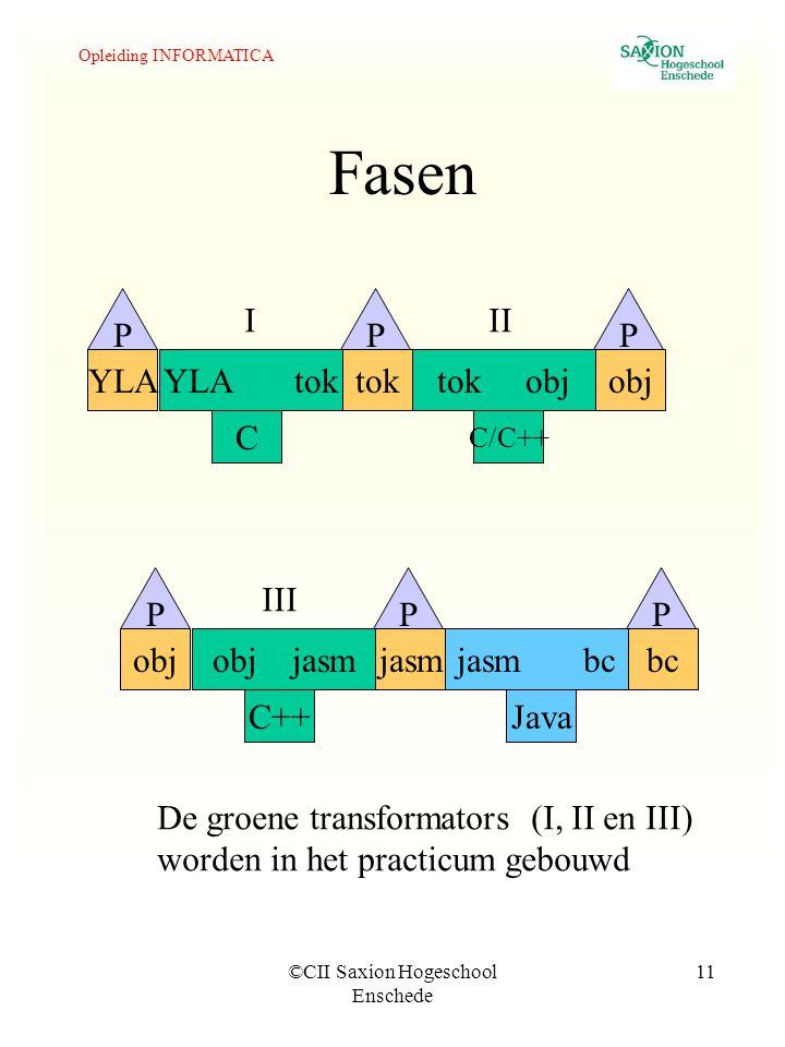 Opleiding INFORMATICA ©CII Saxion Hogeschool Enschede 11 Fasen YLA tok C YLAtoktok objobj C/C++ PPP obj jasm C++ objjasmjasm bcbc Java PPP De groene transformators (I, II en III) worden in het practicum gebouwd III III