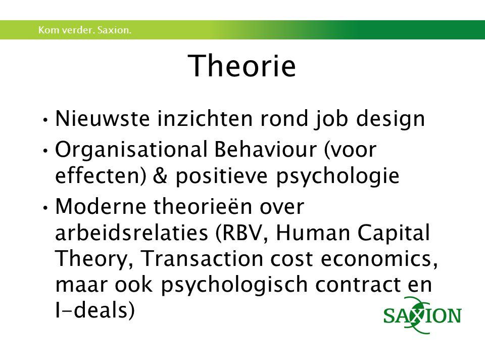 Kom verder. Saxion. Theorie Nieuwste inzichten rond job design Organisational Behaviour (voor effecten) & positieve psychologie Moderne theorieën over