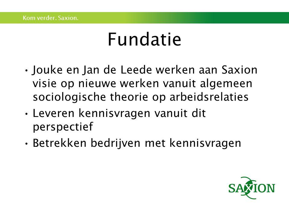 Kom verder. Saxion. Fundatie Jouke en Jan de Leede werken aan Saxion visie op nieuwe werken vanuit algemeen sociologische theorie op arbeidsrelaties L