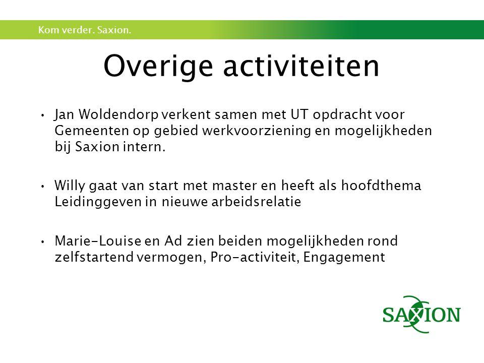 Kom verder. Saxion. Overige activiteiten Jan Woldendorp verkent samen met UT opdracht voor Gemeenten op gebied werkvoorziening en mogelijkheden bij Sa