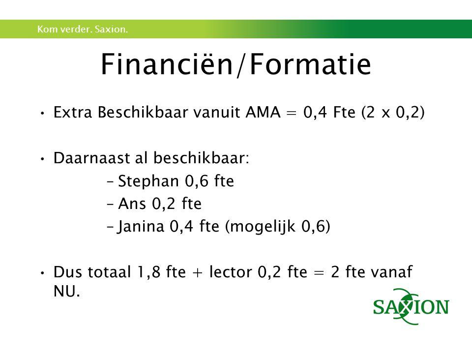 Kom verder. Saxion. Financiën/Formatie Extra Beschikbaar vanuit AMA = 0,4 Fte (2 x 0,2) Daarnaast al beschikbaar: –Stephan 0,6 fte –Ans 0,2 fte –Janin